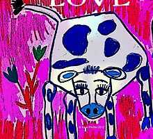 Blue Spotted Love Cow by Kater