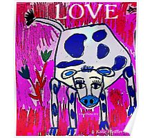 Blue Spotted Love Cow Poster