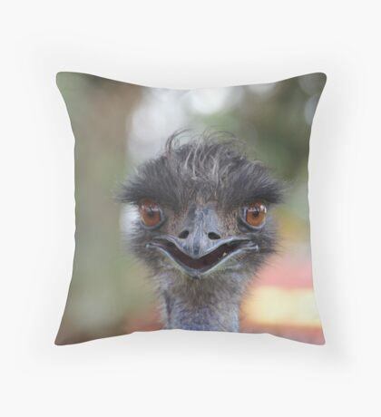 The Happy Emu Throw Pillow