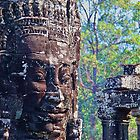 Cambodia. Angkor Thom. Bayon. Smiling Stone Face. by vadim19