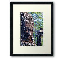Cambodia. Angkor Thom. Bayon. Smiling Stone Face. Framed Print