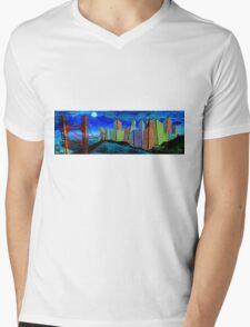 Horizontal Moon Mens V-Neck T-Shirt