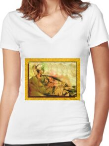 Passing Time Women's Fitted V-Neck T-Shirt