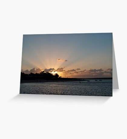 Sun burst over Shark Bay Greeting Card