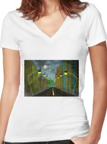 Street Lights Women's Fitted V-Neck T-Shirt