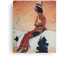 Native American Woman on Horseback by Suzanne Marie Leclair Canvas Print