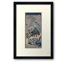 Two travelers one on horseback on a precipice or natural bridge during a snowstorm 001 Framed Print