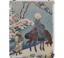 Two travelers one on horseback on a precipice or natural bridge during a snowstorm 001 iPad Case/Skin
