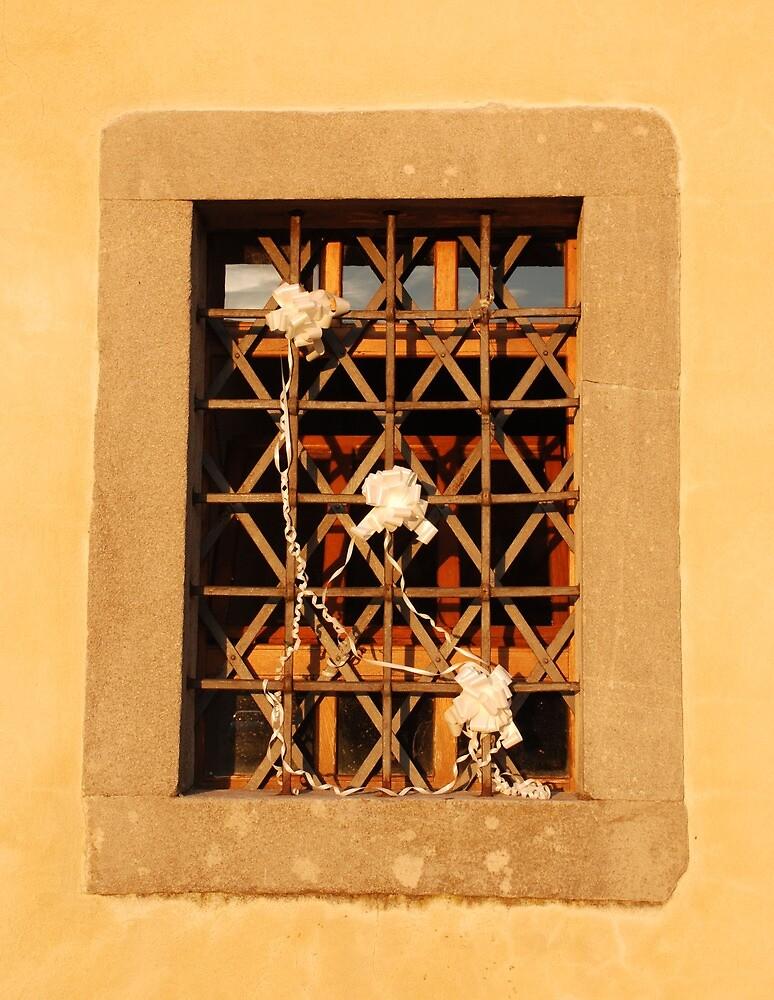 Church Window Decorated for Wedding by jojobob