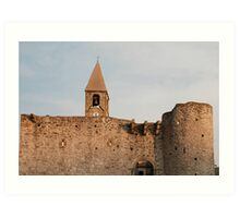 Belltower and Wall of SS Trinity in Hrastovlj Art Print