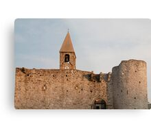 Belltower and Wall of SS Trinity in Hrastovlj Metal Print