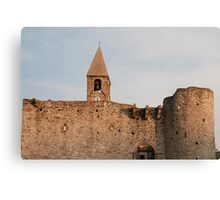 Belltower and Wall of SS Trinity in Hrastovlj Canvas Print