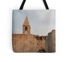 Belltower and Wall of SS Trinity in Hrastovlj Tote Bag