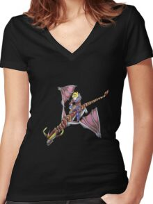 Ezreal riding Shyvana as Eragon with Saphira Women's Fitted V-Neck T-Shirt