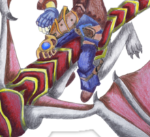 Ezreal riding Shyvana as Eragon with Saphira Sticker