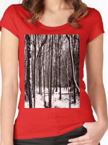 Snow Covered Woodland Essex Women's Fitted Scoop T-Shirt