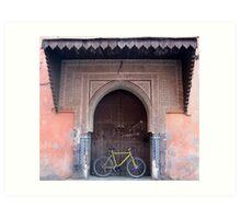 Bike in Old Ornate Doorway, Marrakech Art Print