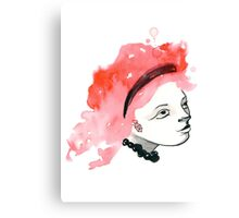 Redhead Watercolor girl Canvas Print