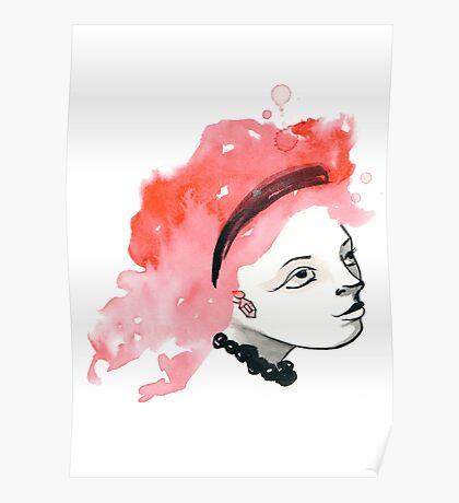 Redhead Watercolor girl Poster