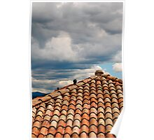 Red Tiled Roof with Storm Clouds Poster