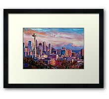 Seattle Skyline with Space Needle and Mt Rainier Framed Print