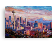 Seattle Skyline with Space Needle and Mt Rainier Canvas Print