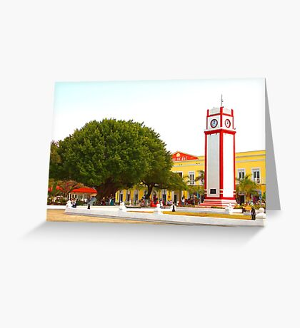 The Clock Tower in Cozumel, Mexico. Greeting Card