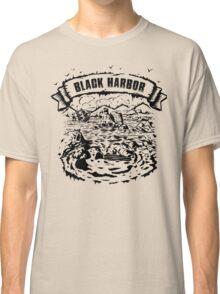 Black harbor drowning ship illustration Classic T-Shirt
