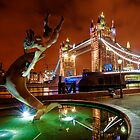 Dolphin Fountain, Tower Bridge, London by DonDavisUK