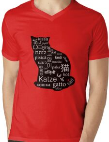 A Cat of Many Languages Mens V-Neck T-Shirt