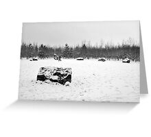 Woman walking dog in snow Didcot  Greeting Card