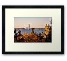 Mackinaw City Bridge Michigan Autumn Fall St Ignace Framed Print