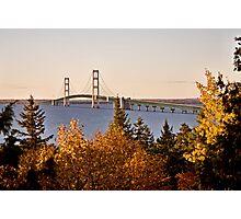 Mackinaw City Bridge Michigan Autumn Fall St Ignace Photographic Print