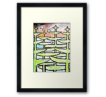 Rose sunrise, through the pines, terns devine. Framed Print