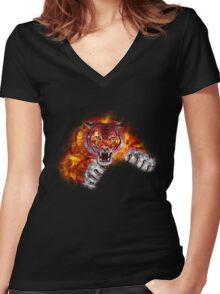 Fire Tiger Women's Fitted V-Neck T-Shirt