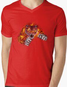 Fire Tiger Mens V-Neck T-Shirt