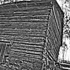 Log Barn, b&w by Kyle Wilson