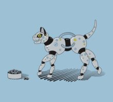 Feed Your Robot Cat (Yellow Eyes) Kids Clothes
