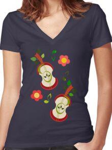 Apple Music Women's Fitted V-Neck T-Shirt