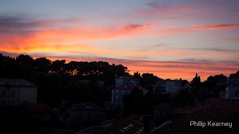 Sunset over Dubrovnik by Philip Kearney