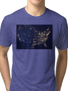 USA at Night from Space Tri-blend T-Shirt