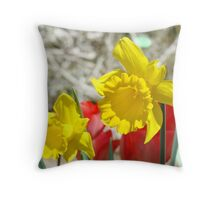 Spring Daffodils Flowers art Prints Red Tulips Throw Pillow