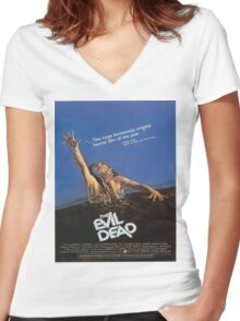 The Evil Dead Movie Poster Women's Fitted V-Neck T-Shirt