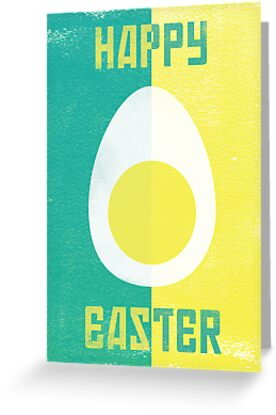 Rusky Easter Card - Turquoise & Yellow by rperrydesign