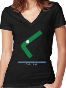 Station Cadillac Women's Fitted V-Neck T-Shirt