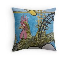 cheeky rooster, about to crow Throw Pillow