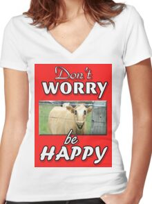 DON'T WORRY BE HAPPY Women's Fitted V-Neck T-Shirt