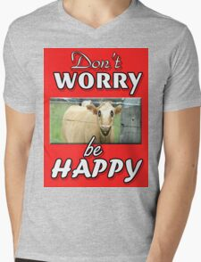 DON'T WORRY BE HAPPY Mens V-Neck T-Shirt