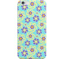 Abstract purple yellow retro flowers pattern  iPhone Case/Skin