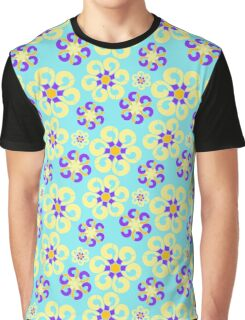 Abstract purple yellow retro flowers pattern  Graphic T-Shirt